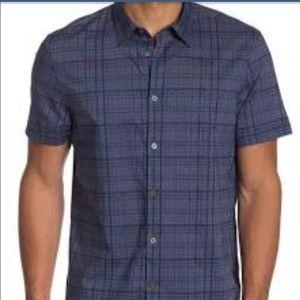 John Varvatos Short Sleeve Plaid Print Woven Shirt
